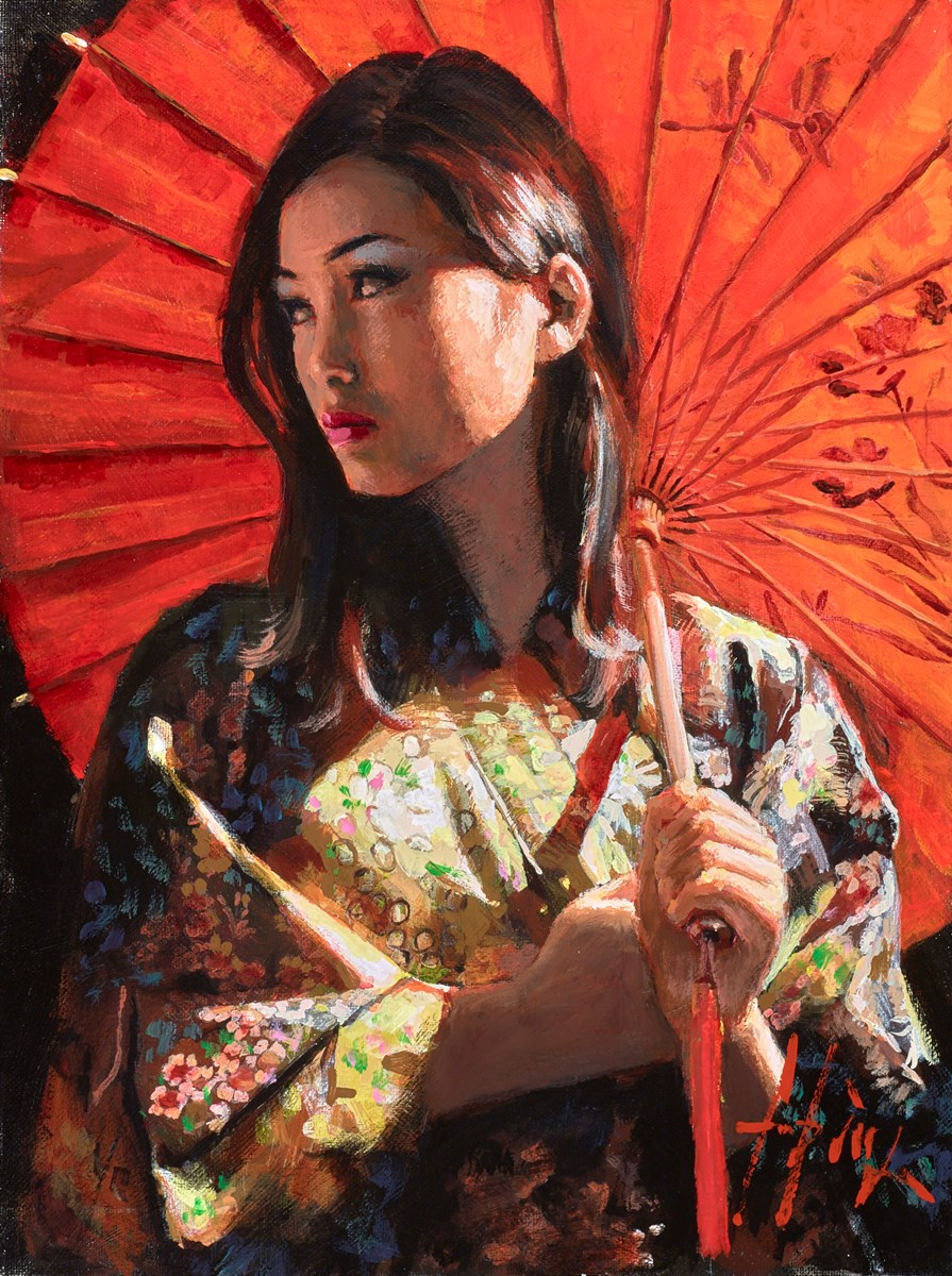 Michiko II (With Red Parasol) by fabian perez -  sized 12x16 inches. Available from Whitewall Galleries
